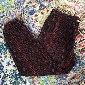 Pam & Gela Red Black Tribal Print Thin Jogger Pant